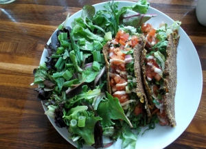 I enjoyed my daily dose of fresh raw foods at Rawlicious on Brock St. in Whitby for the week I was in the area. Pcitured here  are soft tacos with side salad.  Every item on the menu is gluten, dairy and refined sugar free.
