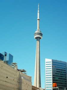 Toronto's statuesque CN Tower stand out clearly against the beautiful blue backdrop on a perfect Sunday in June.
