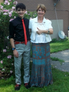 Nephew Dallin the Grade 8 Graduate with his proud Auntie before the ceremony and the valedictory surprise.