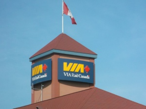 I think this is the VIA Rail train station in Kingston Ontario - my hometown.  You'll ave to excuse me -over the course of a few days and many kilometers,  I passed by quite a few!