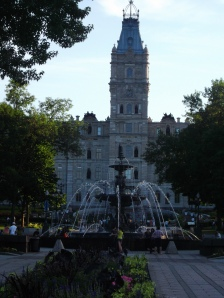 The Quebec Parliament sits here and faces the pretty Tourny Fountain.