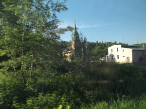 Most likely a church spire in the town of Campbellton New Brunswick.  there is still a French feel to this area and many people have Acadian roots in this region.