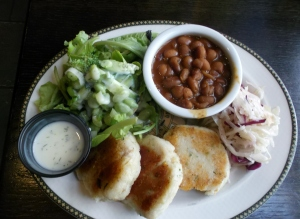 At the Old Triangle in Halifax, I devoured a savoury meal of organic greens with homemade dressing, codfish cakes and delectable vegetarian baked beans. Of course I ate teh whole thing!