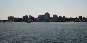 The Halifax skyline as seen from the waters of the harbour. This city is the major commercial centre of the four Atlantic Provinces.