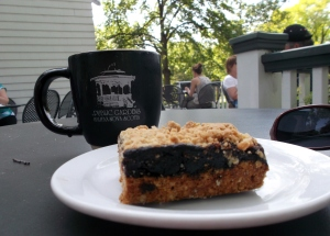 The Cafe in the Public Gardens is an ideal spot to sit, read chat and/or enjoy a treat with coffee or tea.  Featured here is a blueberry-oat bar, with Nova Scotian berries, of course.  (They were not in season yet, but the frozen ones taste great too!)