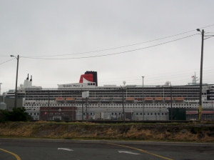 The Queen Mary II was in port while I was in Halifax. She was anchored near Pier 21, which is the area where many immigrants have entered Canada over the years.