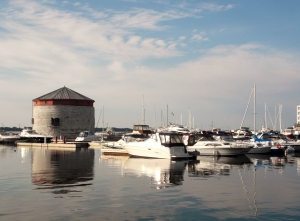 The Kingston waterfront at Flora MacDonald Confederation Basin Marina has always been the perfect place to cool off.  The limstone structure is a martello tower was one of six built in the mid 1800's as part of a military defense system against the U.S.!