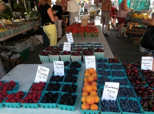 The Kingston Farmer's Market offered numerous varieties of fruit in mid-July.