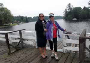 Beth and Gwen pose on the bridge at Whitefish Lake at the Jones Falls Lock Station on the Rideau Canal.