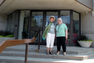 Gwen and Shirley Roth, Administrative Officer of the School of Music at Harrison-LeCaine Hall, which was built in the early 1970's.
