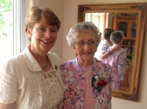 Gwen and her Aunt Vivian just before the 90th birthday party , which took place the same day as 'Hurricane' Arthur's visit!