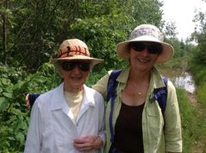Vivian and Gwen enjoy the surroundings at the old homestead in the Annapolis Valley.  Photo taken by Patricia.