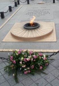The eternal flame beneath the Arc De Triomphe pays tribute to the unknown French Soldier who died during WWI.