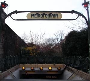 Some sections of the Paris Metro have been around since 1900!  I like the older signs: this one was located 5 minutes from the Solar Hotel in the 14th arrondissement. (Denfert Rochereau)