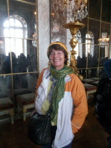 Gwendominica is completely mesmerized in the Hall of Mirrors at the Palais Versailles, a 17th century marvel southwest of Paris.