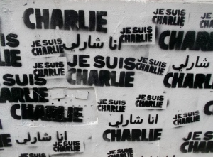 Expressions of Je Suis Charlie quickly appeared everywhere in Paris.  This one was painted on to the front corner of an apartment building in Montmartre, the area where I stayed for my second week.