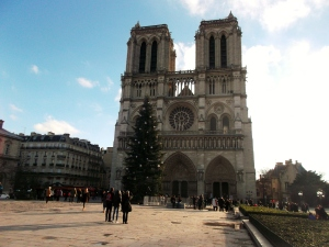 Notre Dame Cathedral is a prominent landmark on an island in the Seine River.