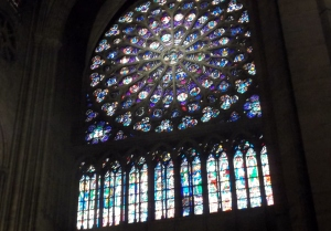 One of the amazing stained glass windows in Notre Dame Cathedral.