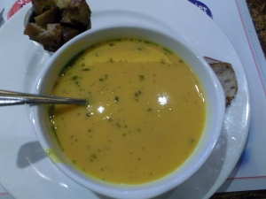 This rich pumpkin soup sustained me for the better part of a day!