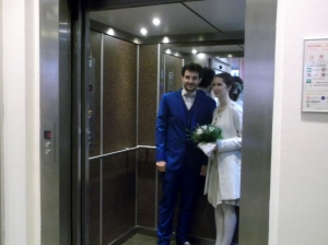 The happy couple posed before the doors closed to give them privacy for a couple of minutes!