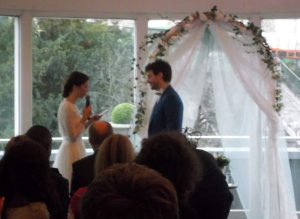 Carole and Gildas formally exchange their wedding vows.
