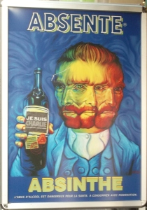I had help from friends Jenny, Georgie and Geis to interpret this poster that I saw that I saw on a shop door in Montmartre.  'Je Suis Charlie' was  adroned to a poster of Van Gogh (Absente) and the poisonous drink, Absinthe