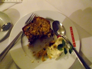 The Carrot Cake at the Joe Allen Restaurant almost disappeared from my plate before I remembered to take a photo of it!