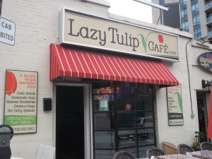The Lazy Tulip Cafe is conveniently located near the Barrie Bus Terminal, on