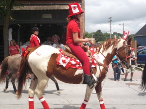 Ponies and horses adorned with riders and flags filled the main street of Orillia during its Canada Day parade.
