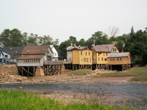 These house are on stilts at Bear River because teh Fundy tide can be very high at times.