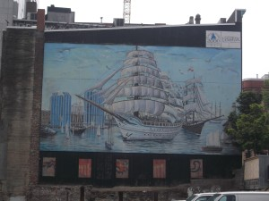 Halifax is and always has been an active sea port. This mural depicts the tall ships that once anchored in the harbour.