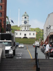 From downtown Halifax, the Town Clock on historic Citadel Hill is a prominent landmark.
