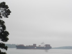 As the fog lifts, a container ship enters Halifax Harbour, as seen from Point Pleasant Park.