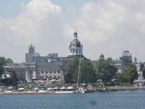 The dome of Kingston City Hall (centre) and the spire of St. Mary's Cathedral (left)figure prominently as one approaches from Lake Ontario.