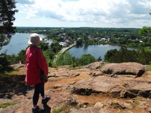 It's fun to look over the pretty village of Westport on Upper Rideau Lake from Spy Rock in the Foley Mountain Conservation Area.