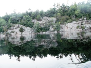 One can get up close and personal with the granite shoreline when in a canoe.