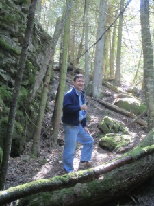 I caught Edwin going up the trail, as I stopped to take in the lovely forest on teh Niagara Escarpment.