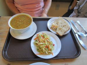 Chicken soup, baked bread and crispy coleslaw. A perfect post-hike snack! Photo taken by Edwin.